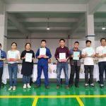 LH Liftin Kiinan tehtaalla palkittiin kymmenen työntekijää, jotka olivat palvelleet yli viisi vuotta.
